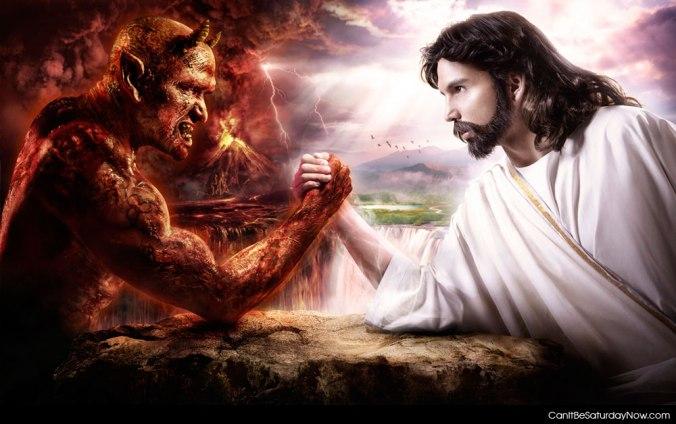 Devil Armwrestles Jesus