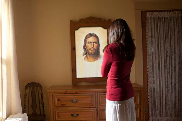 Jesus' Reflection in Mirror