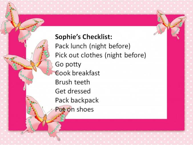 Sophie's Checklist